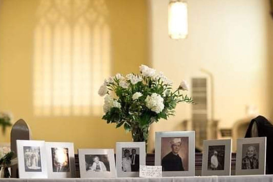 Photographs of a family with white flowers