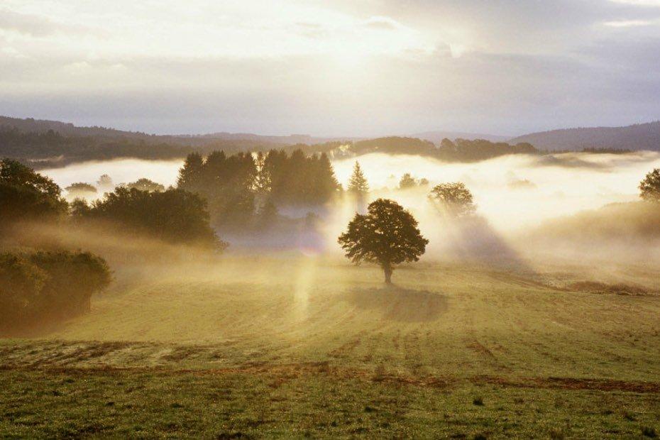 Sun rise over beautiful landscape