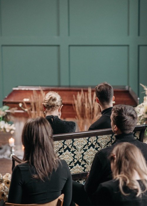 Mourners at a funeral ceremony